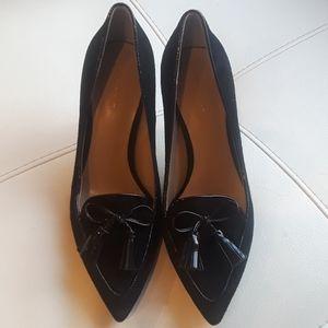"""Ann Taylor 3"""" black tassel suede heels"""